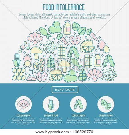 Food intolerance concept with thin line icons of common allergens (gluten, lactose, soy, corn and more), sugar and trans fat, vegetarian and organic symbols. Vector illustration.