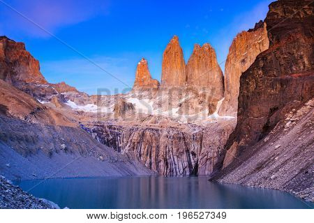 Torres Del Paine National Park Chile. Sunrise at the Torres lookout.