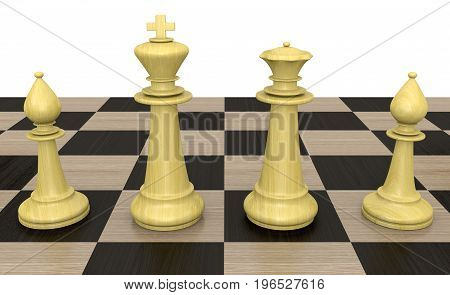 King, queen, and pawn chess pieces on a checkered playing board, 3D rendering