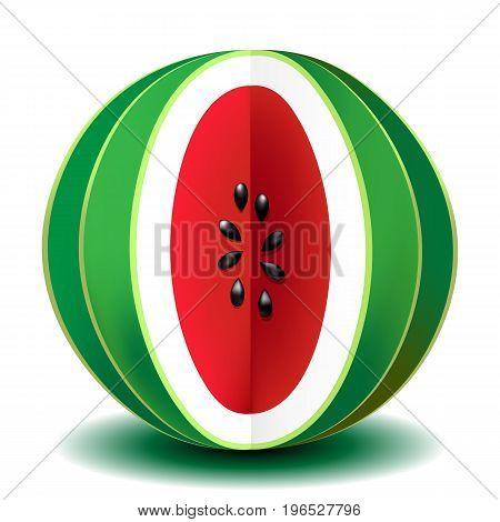 Beautiful vector illustration. Bright red juicy watermelon.