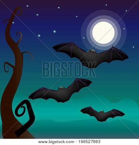 Beautiful vector illustration. A bat under the moon. Spooky landscape. Halloween
