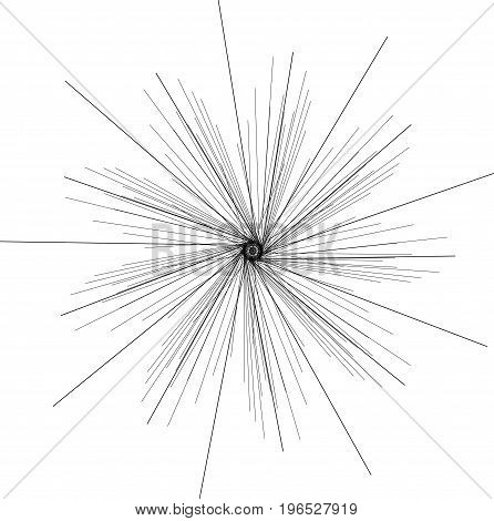 Sunburst, starburst shape black on white. Design element. Radiating radial merging lines, stripes or fireworks. Abstract circular geometric pattern. Vector illustration
