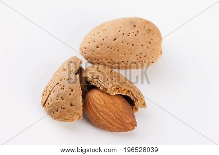 Almonds with kernels. Use it for a health concept.