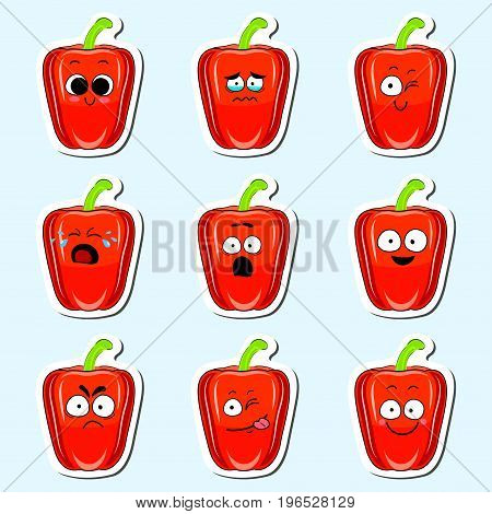 Cartoon pepper cute character face isolated vector illustration. Funny vegetable face icon collection. Cartoon face food emoji. Pepper emoticon. Funny food sticker.