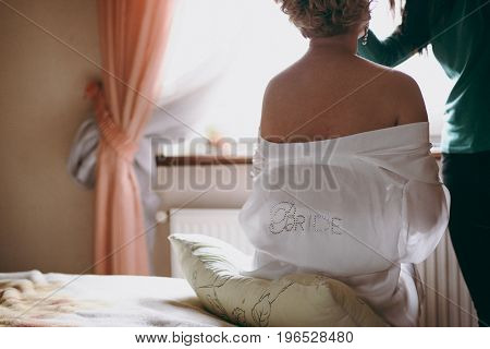 Bride In The Dressing Gown. Beautiful Bride In A Morning