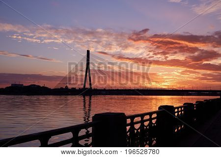 Cable-stayed Bridge During Sunset