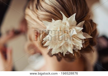 Hairstyle Of The Bride. Beautiful Wedding Hairstyle For The Bride. Large With Details