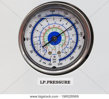 Pressure gage thermometer in reverse osmosis system control panel