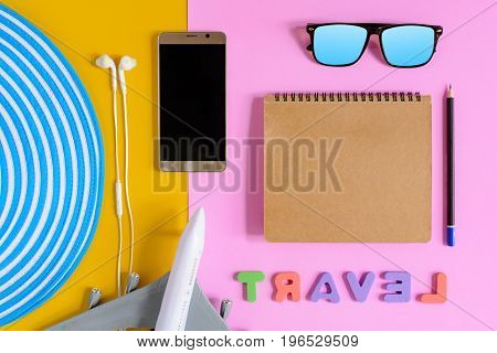 Set Object Vacation Relax Time On Colorful Paper