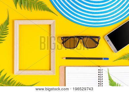 Wooden Picture Frame And Set Object Vacation Relax On Colorful Paper