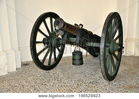 detail view the old military weapon cannon