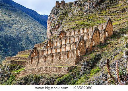 Ollantaytambo Peru. Pinkuylluna Inca storehouses in the Sacred Valley.
