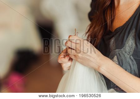 The Bride Is Wearing A Veil. Beautiful Long Veil Of White Color