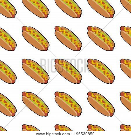 Pattern with delicious hotdog with sauce and salat  for poster, menus, brochure, web fast food business. Cartoon style  on white background