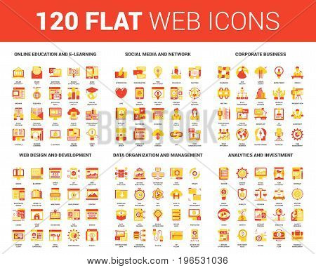 Vector set of 120 flat web icons on following themes - online education, social media and network, corporate business, web design and development, data management, analytics and investment