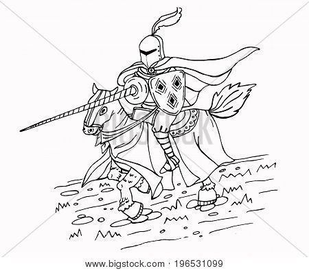 Medieval spear knight on horse. Black and white  isolated illustration. Can be used as coloring page.