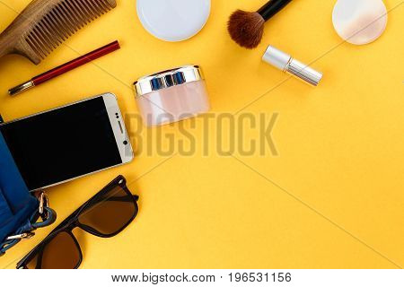 Flat Lay Set Bag And Cosmetics On Paper Colorful For Women