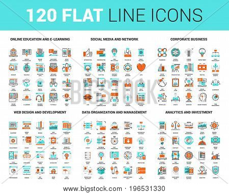 Vector set of 120 flat line web icons on following themes - online education, social media and network, corporate business, web design and development, data management, analytics and investment