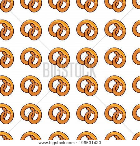 Pattern with delicious pretzel  for poster, menus, brochure, web fast food business.