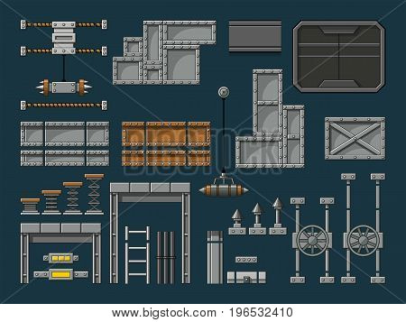 Set of different game assets isolated items
