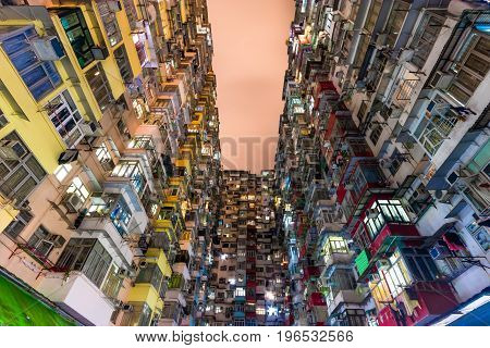 Hong Kong Residential old multi color architecture estate China