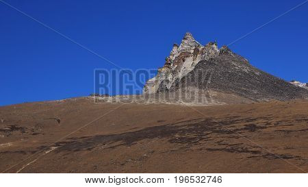 Thonak So So mountain in the Gokyo valley Nepal.