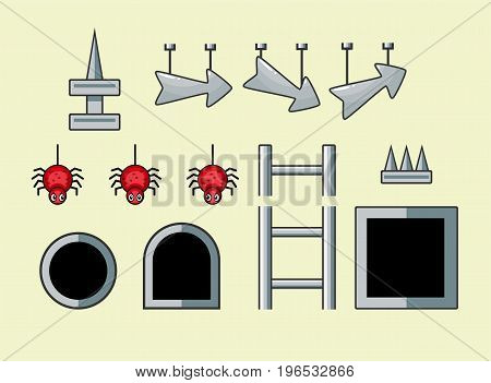 Set of different cartoon game assets isolated items