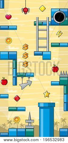 Cartoon game pack game asset jump and run vertical seamless