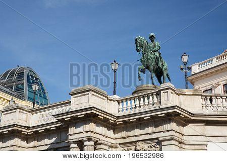 Statue Of Albert In Front Of The Albertina Art Museum. Vienna