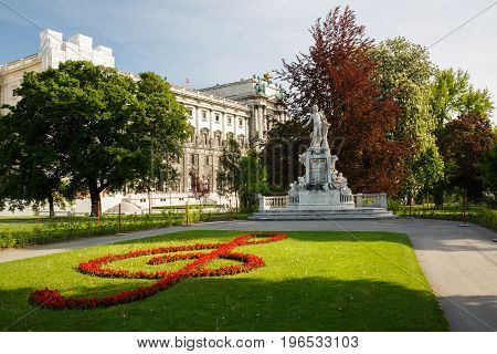 Statue Of Wolfgang Amadeus Mozart In Public Burggarten Park In The Center Of Vienna. Austria