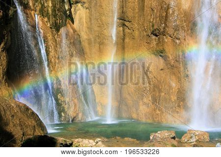 rainbow in the national park Plitvice in Croatia