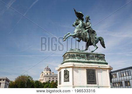 Statue Rider Erzherzog Karl ( Archduke Charles) On Horseback With Flag In Hand. Vienna (wien). Austr