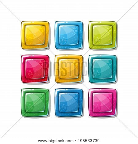 Colorful glossy shapes icons set isolated vector