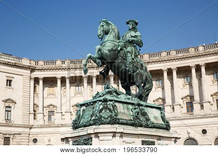 Statue Of Prince Eugene And Facade Of Neue Burg In Hofburg Palace. Vienna