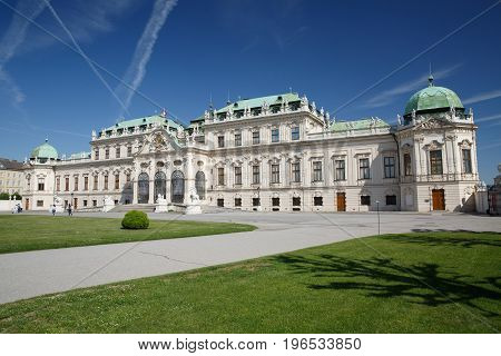 Panoramic View At Sunny Day Of Famous Landmark Belvedere Palace In Vienna