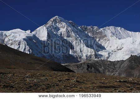 Mount Cho Oyu seen from the Gokyo valley Nepal.