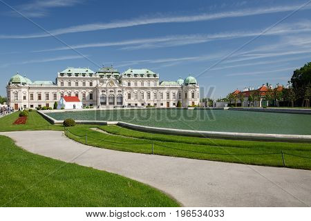 The Belvedere Palace And Pond, Vienna, Austria