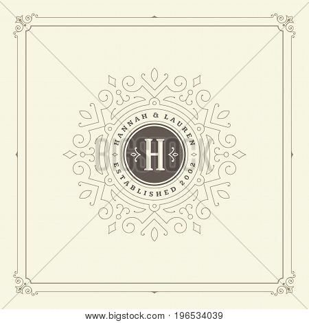 Ornament monogram logo design template vector flourishes calligraphic decorations elegant royal lines. Good for Luxury Crest, boutique brand, wedding shop, hotel sign.