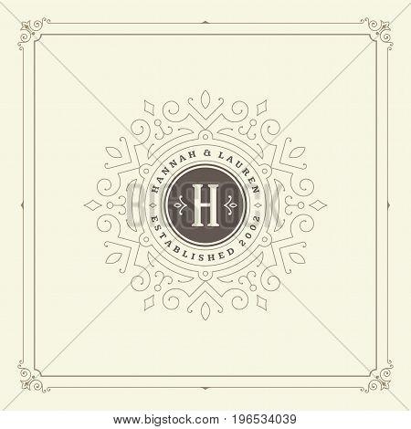 Ornament monogram logo design template vector flourishes calligraphic decorations elegant royal lines. Good for Luxury Crest, boutique brand, wedding shop, hotel sign.