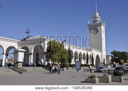 Simferopol Crimea Russia - October 4 2015 morning train station in Simferopol