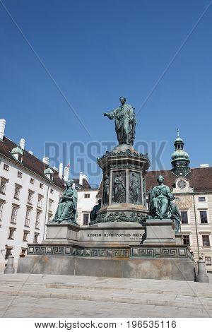 Monument To Emperor Franz I Of Austria (kaiser Franz Denkmal In The Innerer Burghof. Vienna, Austria
