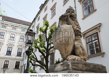 Statue Of A Lion In A Hofburg Royal Palace, Vienna