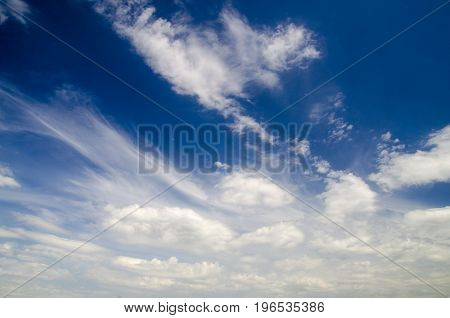 White clouds in deep blue summer sky natural sky background flying in a plane high in the skies