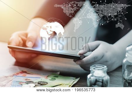 Technology People Global World Map Network And Online Banking Internet Banking Concept