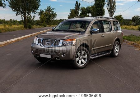 KRIVOY ROG, UKRAINE - JUL 08 - Beautiful Nissan Armada stands on the street,   Saturday 08 July 2017