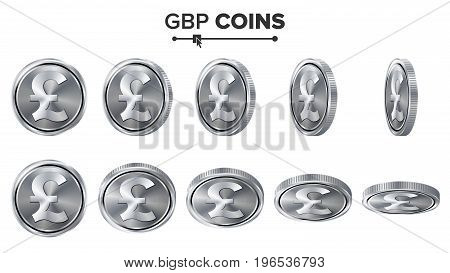 Money. GBP 3D Silver Coins Vector Set. Realistic Illustration. Flip Different Angles. Money Front Side. Investment Concept. Finance Coin Icons, Sign, Success Banking Cash Symbol