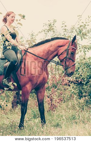 Animal horsemanship concept. Young woman sitting and ridding on a horse through garden on sunny spring day profile view