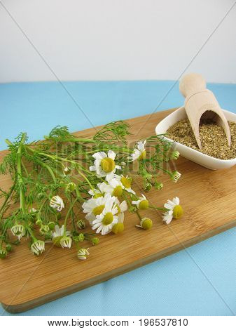 Fresh and dried camomile in a wooden board