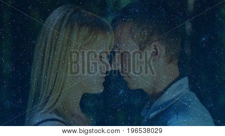Photo of a couple at night with multiple exposure.