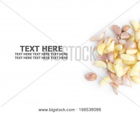 Fresh organic garlic cloves isolated on white background